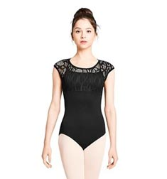 Womens Lace Cap Sleeve Overlay Dance Leotard