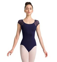 Womens Wave Mesh Cap Sleeve Dance Leotard