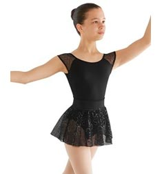 Childs Bow Back Sequin Mesh Cap Sleeve Ballet Leotard