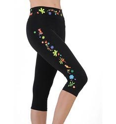 Womens Embroidered Supplex Capri