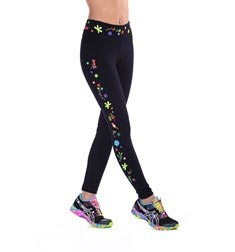 Womens Supplex Embroidered Long Leggings