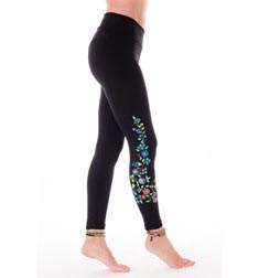 Womens Long Embroidered Thick Supplex Leggings