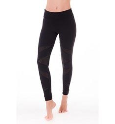 Womens Perforated Inserts Long Supplex Leggings