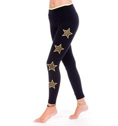 Womens Long Supplex Leggings with Mesh Neon Stars