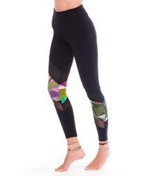 Womens Perforated Diagonal Long Supplex Leggings