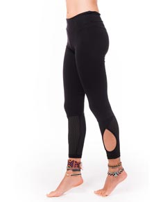 Womens Mesh Insets Supplex Long Leggings