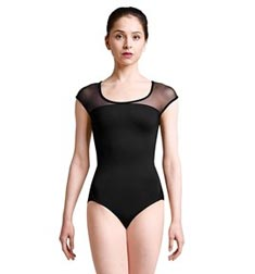 Womens Braided Back Mesh Cap Sleeve Dance Leotard