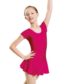 Cap Sleeved Dance Leotard with Skirt for Girls