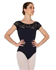 Women Lace Cap Sleeve Dance Leotard