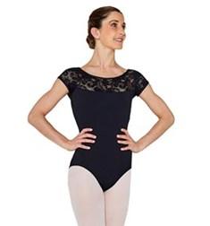 Women Lace Cap Sleeve Dance Leotard