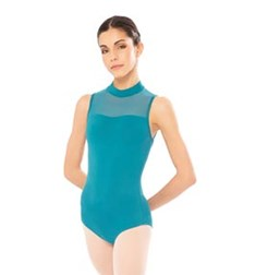 Mesh Halter Sleeveless Dance Leotard For Girls
