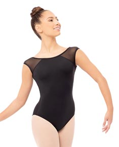 Mesh Cap Sleeves Dance Leotard For Girls