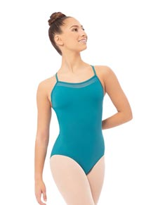 Mesh Racer Back Camisole Dance Leotard For Girls