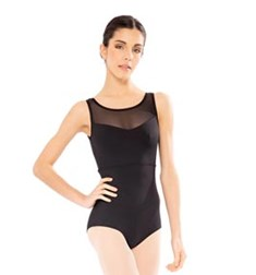 Microfiber Mesh Tank Dance Leotard For Women