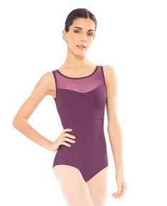 Microfiber Mesh Tank Dance Leotard For Girls