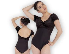 Women Velvet Short Sleeve Dance Leotard Linda
