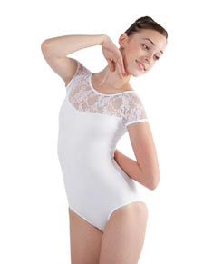 Women Lace Mesh Short Sleeve Ballet Leotard