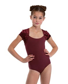Girls Short Sleeve Velvet Dance Leotard