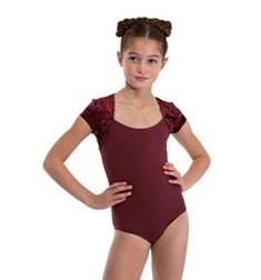 Girls Short Sleeve Velvet Dance Leotard