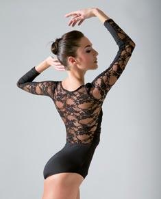 Women Lace Long Sleeved Dance Leotard