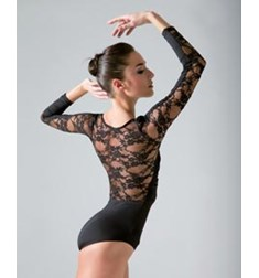 Women Lace Long Sleeved Dance Leotard