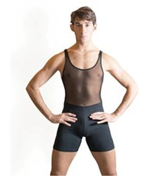 Mens Mesh Dance Short Unitard