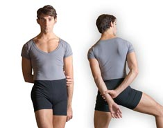 Mens Short Sleeve Dance Unitard with Shorts