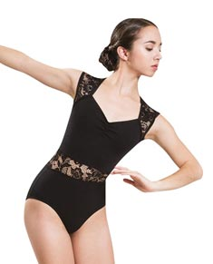 Women Lace Mesh Dance Leotard with Cap Sleeves