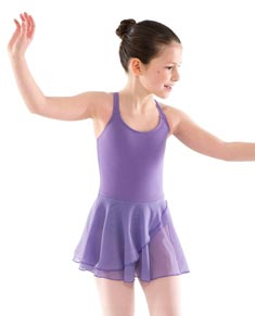Girls Camisole Double Cross Skirted Dance Leotard