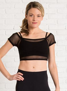 Women Mesh Double Layer Bra Dance Top