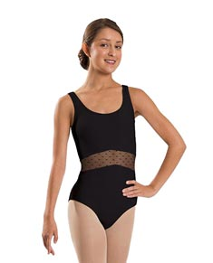 Adult Mesh Rushed Front Tank Dance Leotard