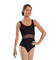 Women Mesh Rushed Front Tank Dance Leotard