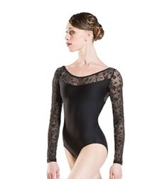Flocked Tulle Long Sleeve Dance Leotard SIBELLE