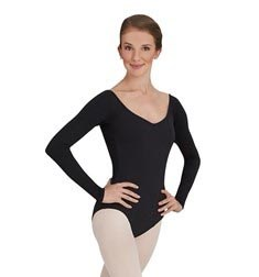Adult Mesh Long Sleeves V Back Ballet Leotard