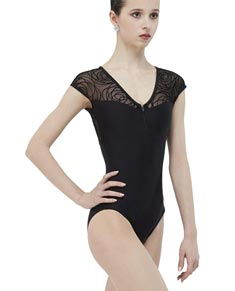 Adult Cap Sleeve Leotard with Flocked Mesh GRENAT